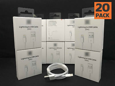 20 PACK - Original Genuine USB Cable Charger 2m (6ft.) for X XS 8 7 6 5 5c Plus