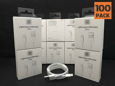 100 PACK - Original Genuine USB Cable Charger 2m (6ft.) for X XS 8 7 6 5 5c Plus