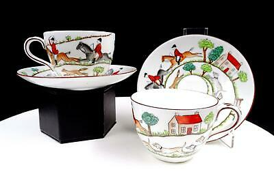 """Crown Staffordshire #12748 Hunting Scene Four Piece 2 3/8"""" Cup And Saucer Sets"""