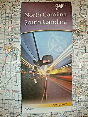 AAA NORTH CAROLINA NC / SOUTH CAROLINA SC STATE Travel Guide Tour Road Map 2020