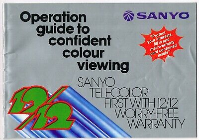Vintage Sanyo Telecolor Receiver Television Operation Guide