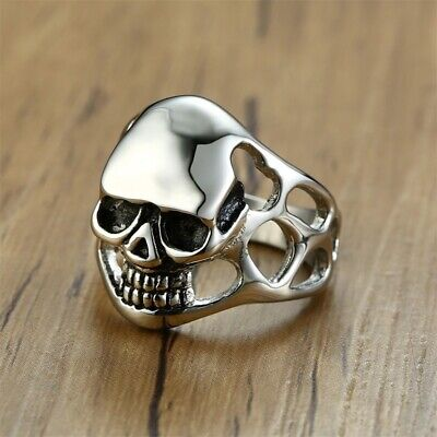 Punk Rock Men Ring Skull Skeleton Head Band Male Biker Jewelry Stainless Steel