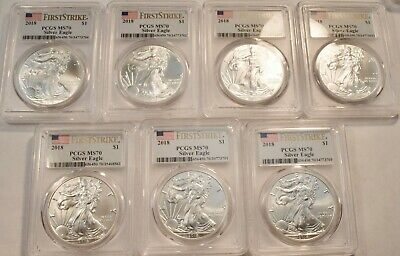 Lot of (7) 2018 $1 PCGS MS 70 American Silver Eagles 1 oz. First Strike Ounces