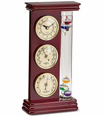 Weather Station Clock Measure Temperature Humidity Barometer Office Decoration