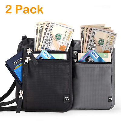 d138c7a08b57 RFID TRAVEL NECK Wallet Passport Holder Pouch Hidden For Passport ...