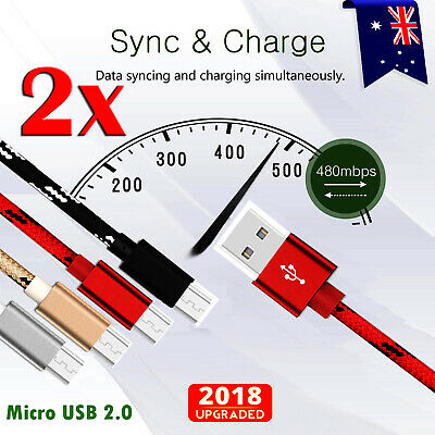 2X 1M Fast Charging Micro USB 2.0 Charger Data Sync Cable For Huawei Y7 Pro 2019