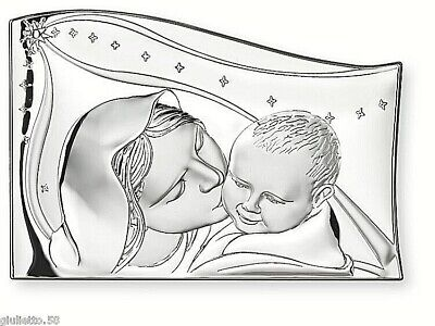 FAVOURS SAILING Cm.7x5 HOLY COMMUNION CONFIRMATION MADONNA with BABY 925 silver%