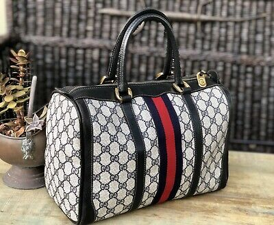 057f83e91fad Auth GUCCI Vintage Coated Leather Blue/Red Boston/Doctor Bag Large 🌺