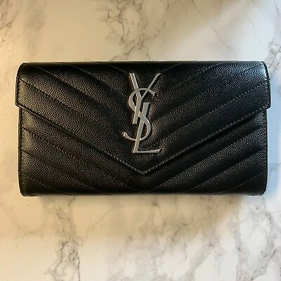 b34366d85e YSL MONOGRAM LARGE Flap Wallet In Grain De Poudre Embossed Leather ...