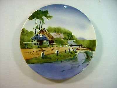 """Ea.1900's German Faience Plate/Charger Riverscape 11"""""""