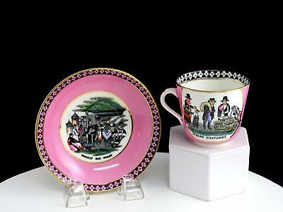 """Wales Antique Welsh Peasantry Market Day Scene Pink 2 3/4"""" Cup & Saucer Set"""