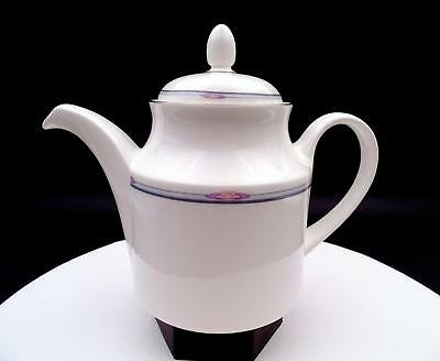 """Royal Doulton Simplicity Pink Leaves On Gray Band 7"""" Teapot 1986-1997"""