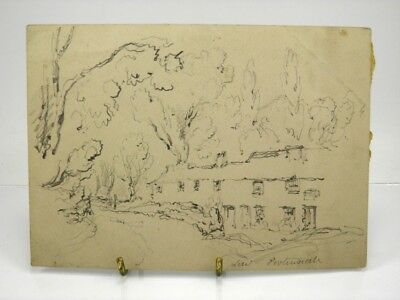Antique early 20th century English School pencil drawing rural landscape scene
