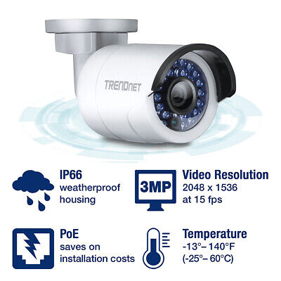 Cámara IP TRENDnet TV-IP314PI 4MP 30m IP66 PoE exterior nocturna vigilancia