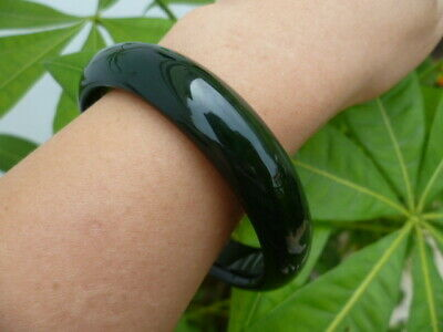 Certified Genuine Natural A Grade Agate Bangle Green Thick Flat Bracelet 56~66mm
