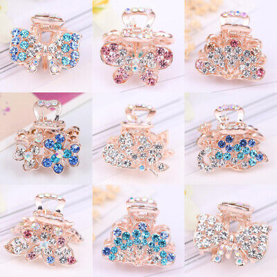Ladies Diamante Rhinestone Hair Clip Butterfly Claws Clamps Wedding Accessories