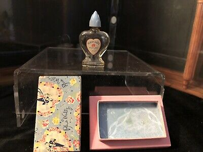 "Vintage Blue Waltz Perfume Bottle 3-1/4"" Blue Art Deco Lid EMPTY Original Box"