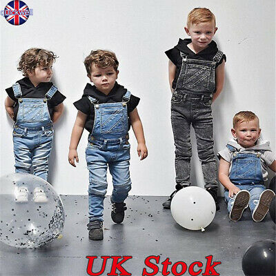 UK Toddler Kids Baby Girls Boys Denim Dungaree Jumpsuit Playsuit Outfits Clothes