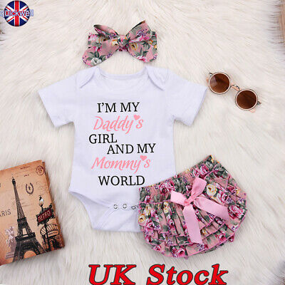 UK Cute Infant Baby Girls Tops Romper Tutu Shorts Headband Outfits Set Clothes