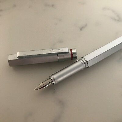 Rotring 600 Newton Vintage Fountain Cartridge Pen (M = Medium) Uninked Silver