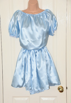 Fi 123 - Baby Blau Seidiges Satin Kleid, XL Neu Crossdressing Spaß