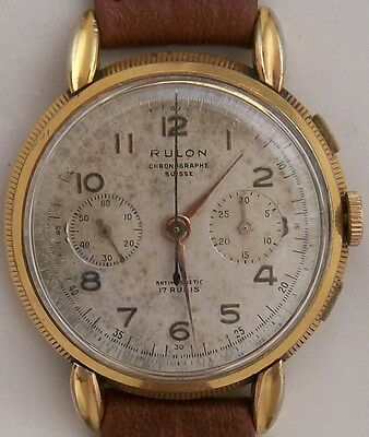 Rulon Chronograph Suisse mens wristwatch load manual gold filled case 40 mm.