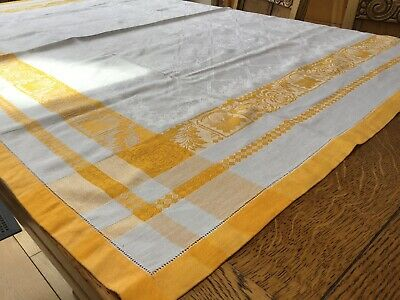 Vintage 1950's White And Canary Yellow Damask Tablecloth