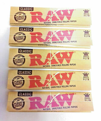RAW King size Slim Rolling hemp Papers Authentic