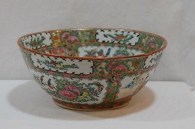 Antique Chinese Canton Famille Rose Medallion Punch Bowl 11 inches