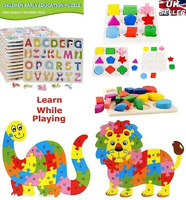 Wooden Puzzle Baby Kids Toddler Jigsaw Alphabet Letters Animal Learning Toys DIY