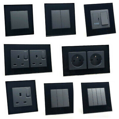illucio Black Designer Light switches, Plug Sockets, Fused Spurs, TV, Telephone