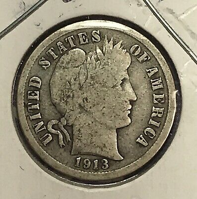 1913 Barber Silver Dime. Collector Coin For Your Set Or Collection.