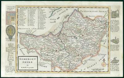 1733 - Rare Original Antique Map of SOMERSET by Herman Moll Hand Coloured (46)