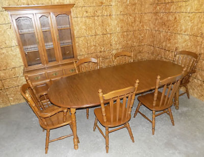 Tell City Chair Co. Tanbark solid Oak dining table & leaves ONLY Pattern #1457