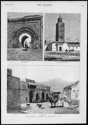 1883 Antique Print - AFRICA Morocco Kasbah Gate Koutoubia Mosque Kutubia (183)