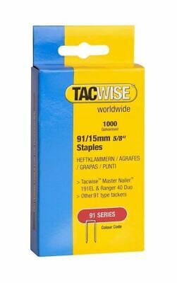 """Tacwise 1000 Tacker Staples For use in 191EL, Ranger 40 Duo - 91/15mm 5/8"""""""