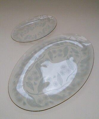 Chance Brothers Calypto oval vintage retro glass plates - 1 large & 1 small
