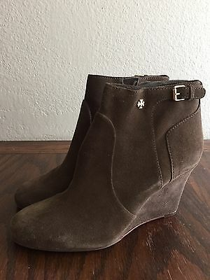 63ad301fab4 NEW  395 Tory Burch MILAN Olive Green Brown Suede Wedge Booties 10 Ankle  Boots