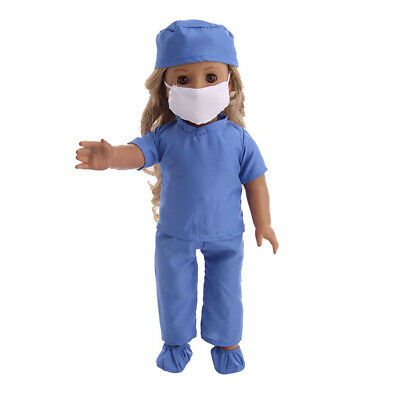 6pcs Doll Cute Doctor Outfits Scrubs Set for American Girl 18 inch Dolls