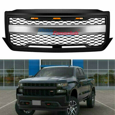 NEW 16 17 18 Mattle Black Front Grill With 3 Lights For Chevrolet Silverado 1500