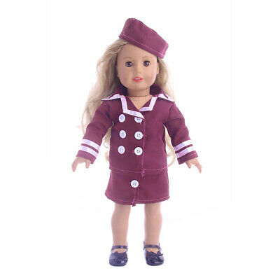 3pcs Doll Cute Uniform Coat Skirt and Hat Set for AG American Doll 18 inch Doll