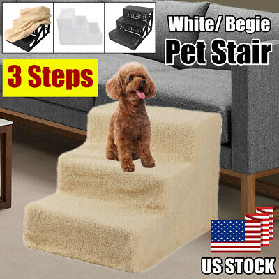 3 Steps Dog Pet Stairs Ramp Folding Animal Cat Ladder Bed w/Cover Indoor
