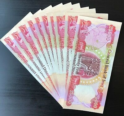 QUARTER MILLION IRAQI DINAR - (10) 25,000 IQD Notes - AUTHENTIC - FAST DELIVERY