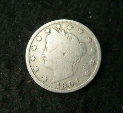 """Antique Us Coin """"v"""" Liberty Head 5 Cent Nickel 1904"""