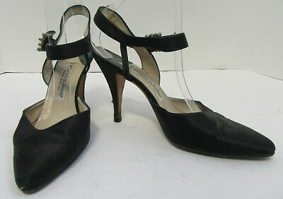 2bf0200ce6 MANOLO BLAHNIK Black Satin Pointed Rhinestone Buckle Slingback Pumps Size 39