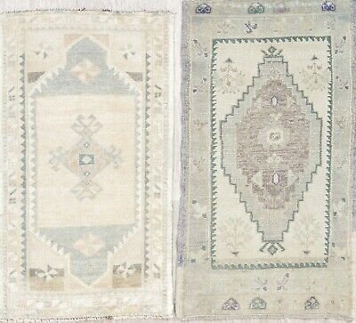 Set of 2 Antique Tribal Oushak Turkish Oriental Hand-Knotted 2x3 Wool Muted Rug