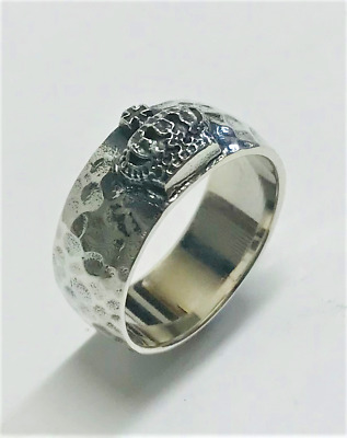 SilverNess Men's Jewellery Hammered Crown  Ring: 925 Sterling Silver