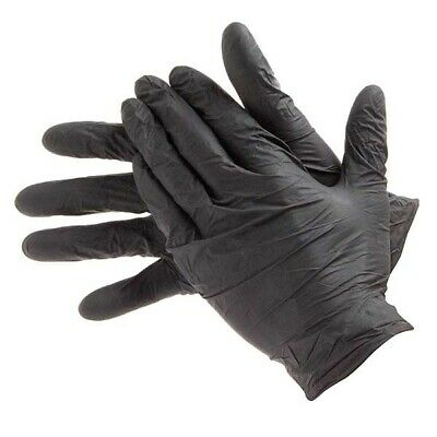 Triple QX Nitrile Gloves Box Of 100 Extra Large XL Black Powder Free Disposable