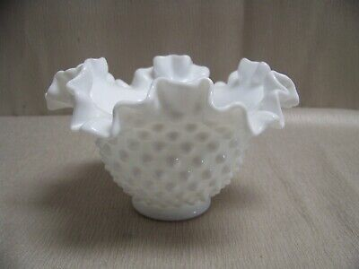 Vintage Fenton White Milk Glass Hobnail Ruffled Edge Small 6 Inch Bowl