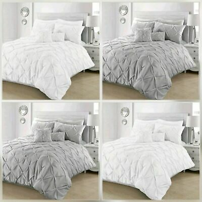 Pintuck Pleated Duvet Cover with Pillowcase Bedding Set Charcoal White Pink Grey
